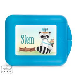 Koekendoosje of snackbox met naam | Stoere wasbeer