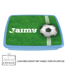 Lunchbox met naam | Voetbal gras
