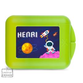 Koekendoosje of snackbox met naam   Space Adventure