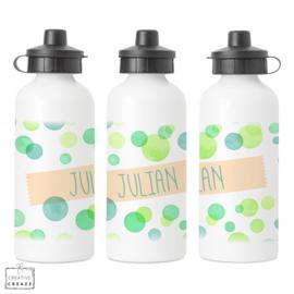 Drinkfles met naam | Green Bubbles | 400 ml of 600 ml