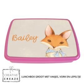 Lunchbox met naam | Vintage vosje