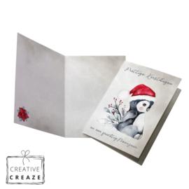 Kerst- en Nieuwjaarskaart | Zittende pinguin