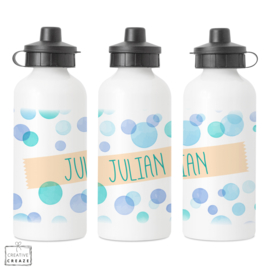 Drinkfles met naam | Blue Bubbles | 400 ml of 600 ml