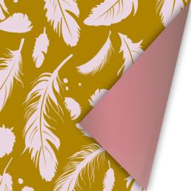 Inpakpapier Falling Feathers | dubbelzijdig | Roze - Oker
