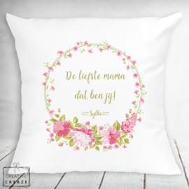 Kussen - De liefste mama - Roze Bloemen