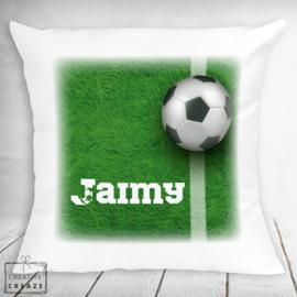 Kussen voetbal gras met naam