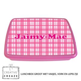 Lunchbox met naam | Roze ruitjes