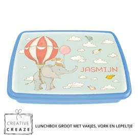 Lunchbox met naam | Vliegende olifant