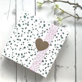 Inpakpapier Dots Metallic Petrol - Neon Pink