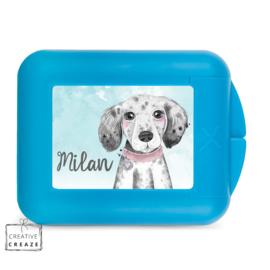 Koekendoosje of snackbox met naam | Puppy - hondje