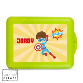 Lunchbox of brooddoos met naam | Superheld | €15,95