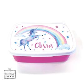Brooddoos of broodtrommel met naam | Rainbow unicorn
