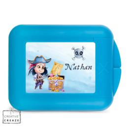 Koekendoosje of snackbox met naam | Piraat