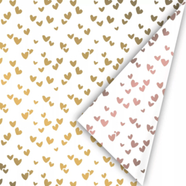 Inpakpapier Solo Heart Gold - Blush Pink