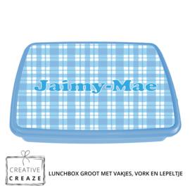 Lunchbox met naam | Blauwe ruitjes