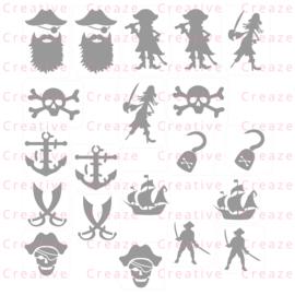 Assortiment glittertattoosjablonen Piraten