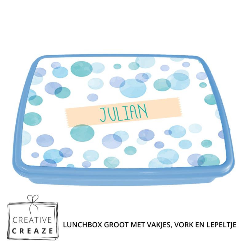 Lunchbox met naam   Blue Bubbles