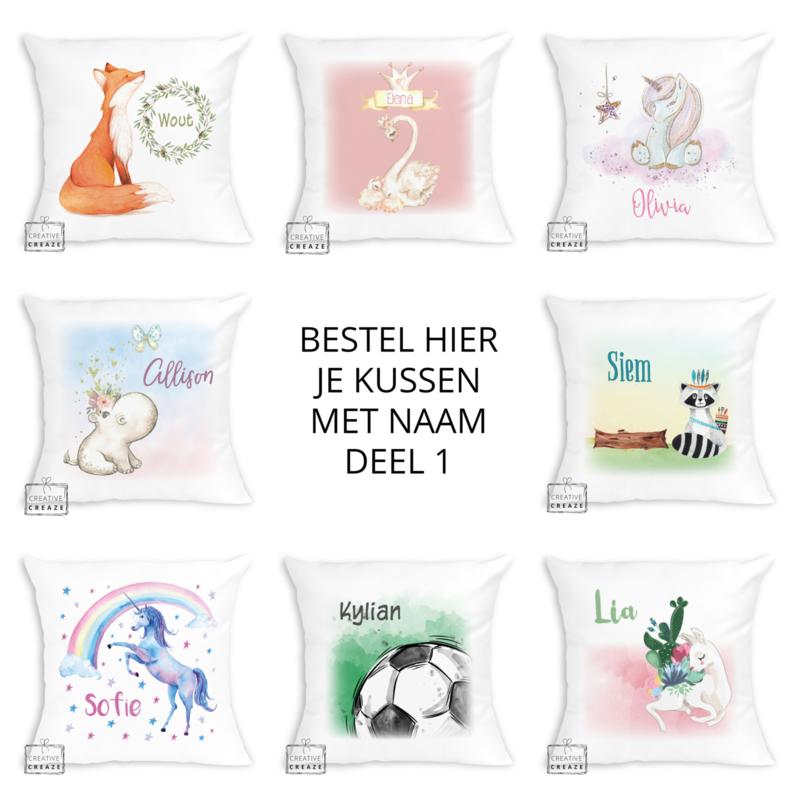 Bestel hier je kussen met naam - verschillende designs - deel 1