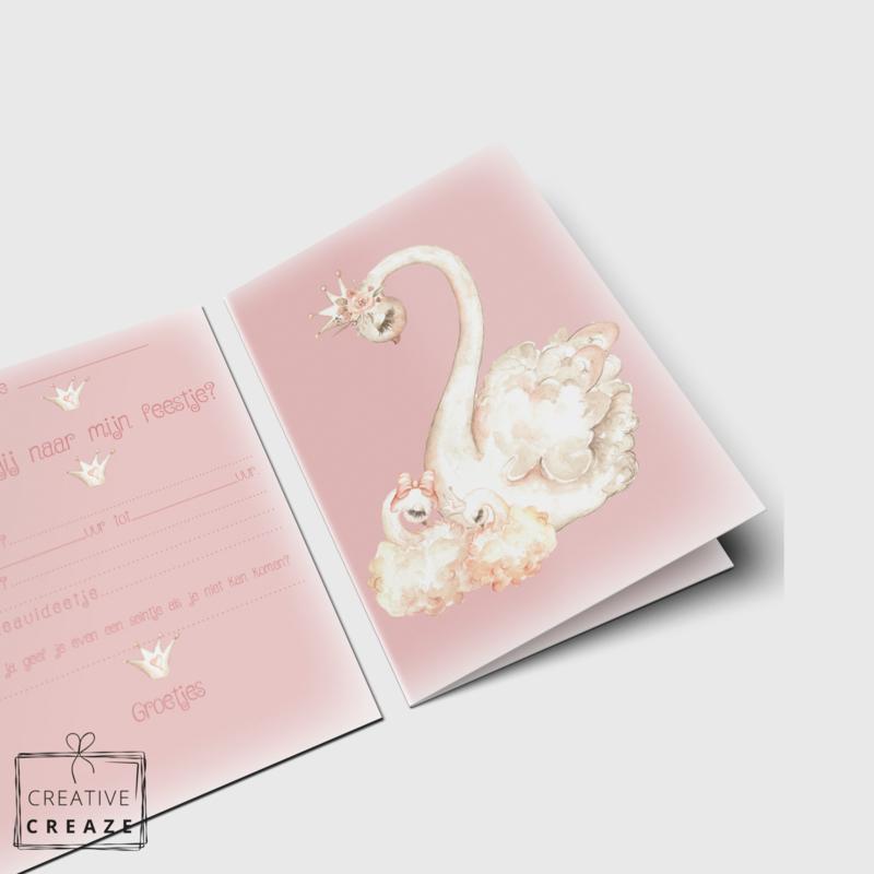 Uitnodigingen | Prinses Zwaan | 5 stuks