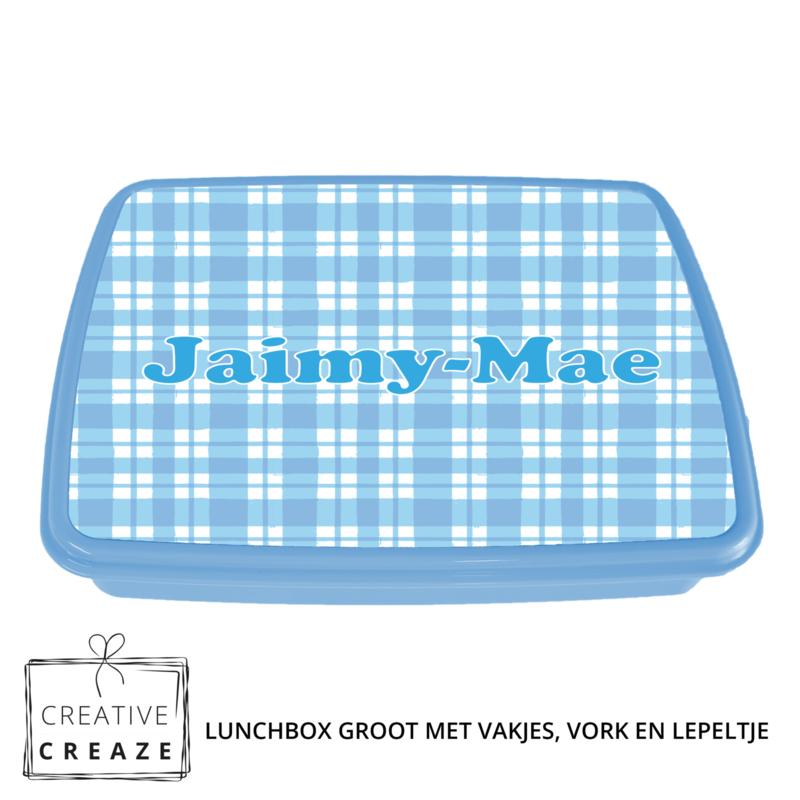 Lunchbox met naam   Blauwe ruitjes