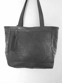 Lederen shopper Navilla zwart (maat L)