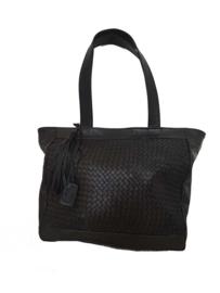 Lederen shopper Navilla zwart (maat M)