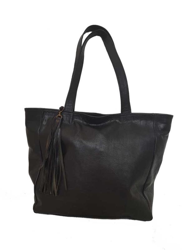 Lederen shopper Bayla Zwart (maat M)