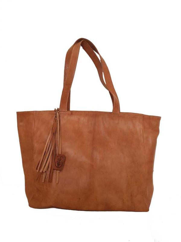Lederen shopper Bayla Cognac (maat L)