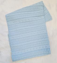 Keurig Gebreid Babyblauw Deken