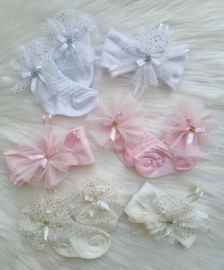 Luxe Giftset Babysokjes + Haarbandje