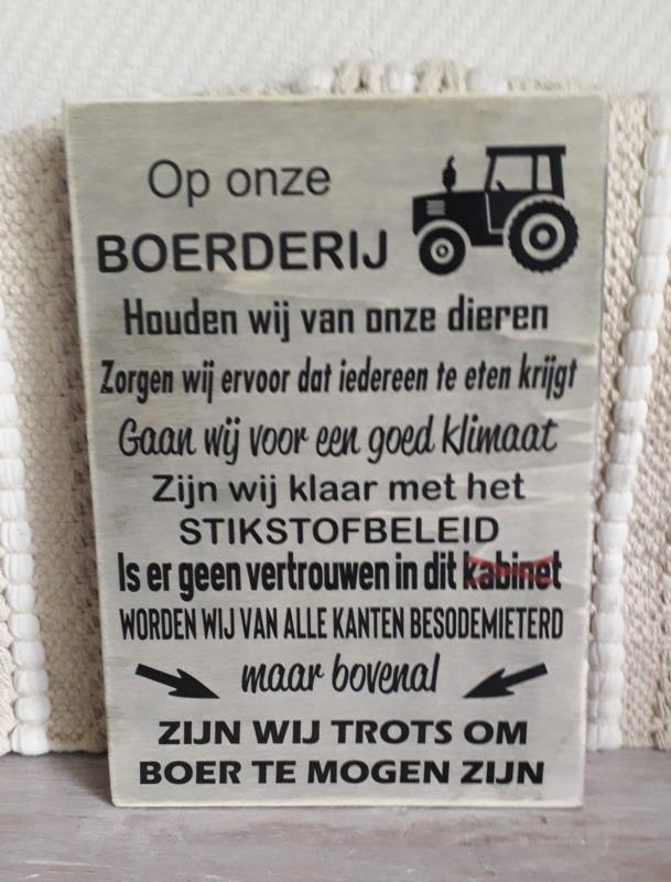 Tekstbord Op onze boerderij