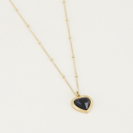 My Jewellery ketting black onyx hartje
