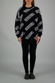Reinders sweater roundneck all over print black