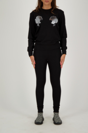 Reinders sweater headlogo black/ silver