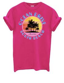 T-shirt Ocean drive hot pink