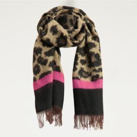 My Jewellery sjaal met luipaard roze streep