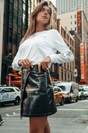 Colourful Rebel Phoebe patent pu skirt black