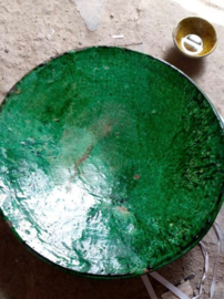 Bord Ø16cm groen of mosterdgeel