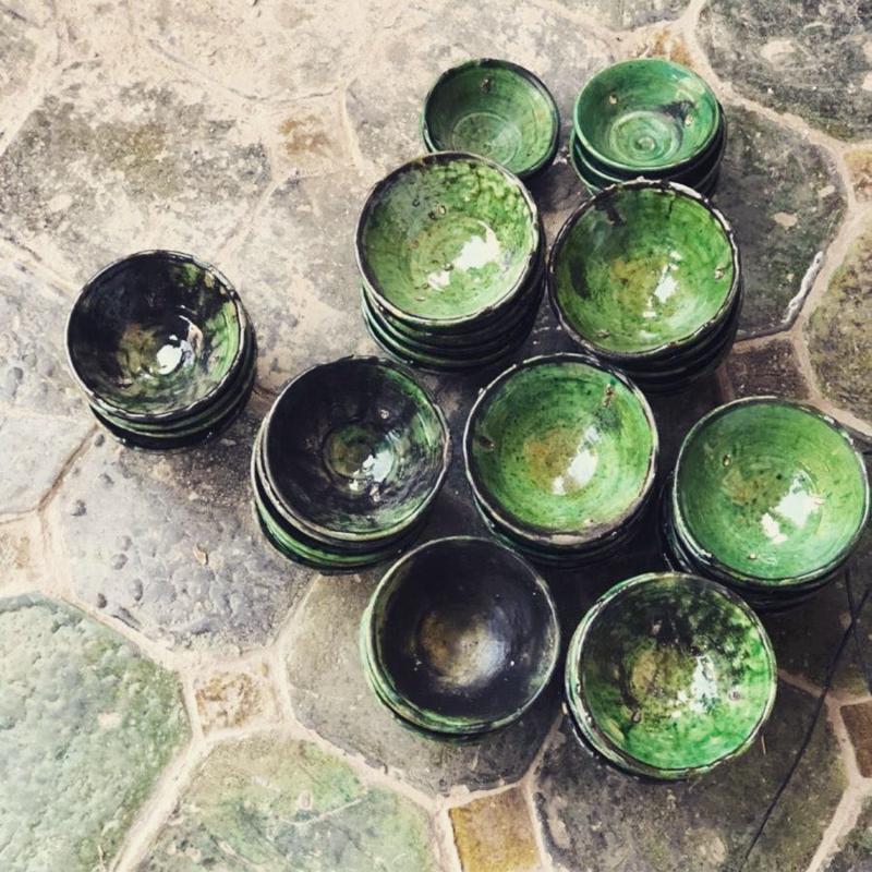 Schaal Ø16cm groen of mosterdgeel