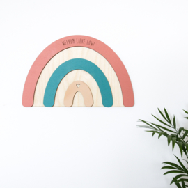 Regenboog-bord Welkom + Naam