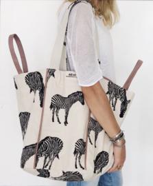 Strandtas -  Zebra Natural / Oud Roze