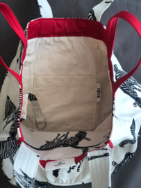 BeachBag -  Zebra Natural / Red
