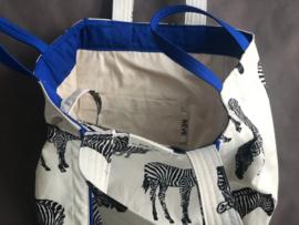 Strandtas -  Zebra Natural / Kobalt Blauw