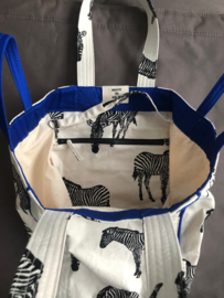 BeachBag -  Zebra Natural / Cobalt Blue