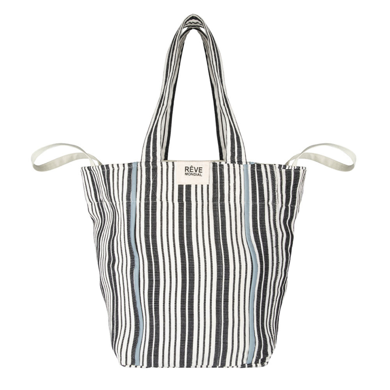 BEACHBAG - NATURAL STRIPE / sky blue accent - SOON AVAILABLE