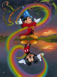mickey mouse als tovenaar spiegelbeeld 50x40 cm (vierkante steentjes)