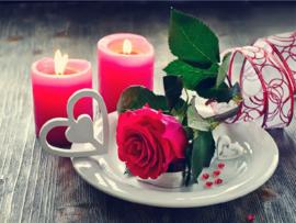 roos met kaarsjes 60X45 CM (vierkante steentjes)