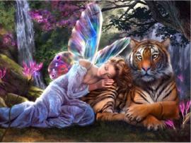 Vlinderfee en tijger 80X60 cm (ronde steentjes)