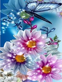 vlinder met bloemen 40X50 CM (vierkante steentjes)
