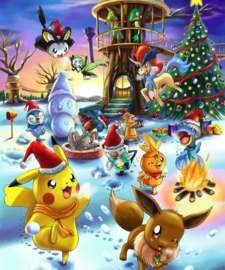 Pokemons vieren kerst